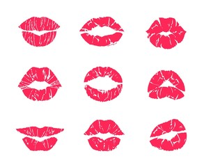 Lipstick kiss. Female mouth makeup, woman lips red grunge print isolated on white, set of affair symbols. Vector illustration lip kiss marks, attractive romantic kissing symbols