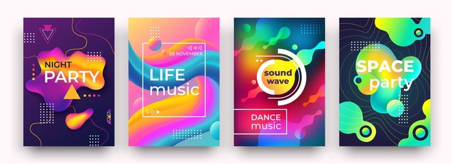 Abstract gradient poster. Vibrant colors and fluid shapes, night party club poster, music, dancing festival flyer. Vector bright book cover or future design clubs color flyer liquid motion