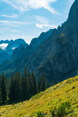 European summer day in the beautiful mountains of Austria, Austrian Alps are great place to visit for all the tourists, Tourism in Europe