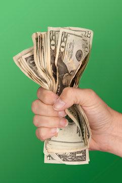 Woman gripping cash
