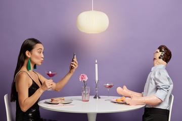 Online dating, social networking and virtual relationship concept. Inlove woman has online meeting with partner, uses dating application, actively looking for lover, wants to start love again
