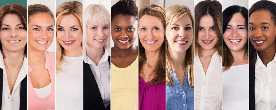 Happy Multi Ethnic Women Collage