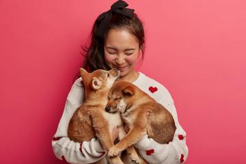 Sincere happy woman plays with two puppies, gets kiss from shiba inu dog, expresses love to...