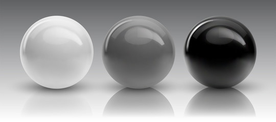 Zelfklevend Fotobehang Bol Set of vector spheres and balls on a white background with a shadow.