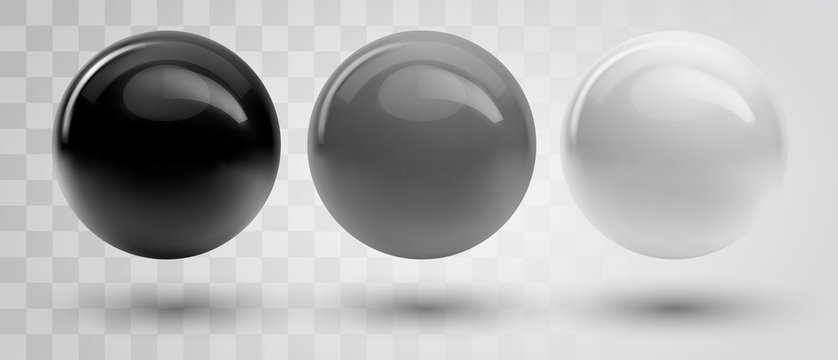 Set of vector spheres and balls on a white background with a shadow.