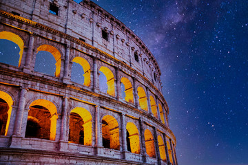 Deurstickers Rome Roman Colosseum at Night with Stars