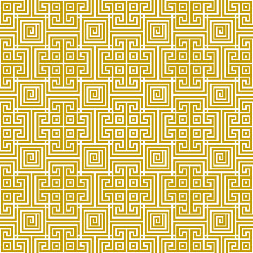Vector seamless antique traditional geometric greek gold pattern 8