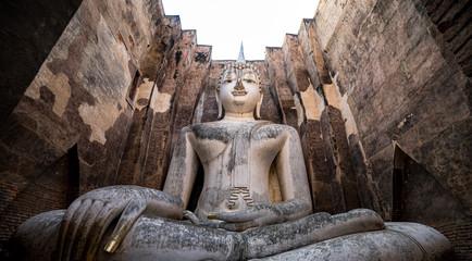 Printed kitchen splashbacks Buddha Big buddha, Sukhothai, Thailand : Wat Si Chum is a historic temple site in Sukhothai Historical Park, Sukhothai Province,Thailand