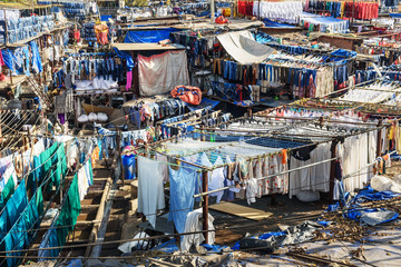 View of Dhobi Ghat is outdoor laundry in Mumbai. India Fotomurales