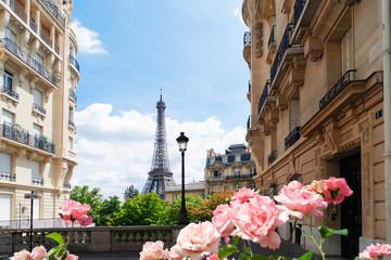 Poster de jardin Paris eiffel tour and Paris street