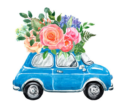 Watercolor blue abstract vintage car in cartoon style with floral bouquet. Hand painted cute romantic car and blush pink flower arrangement. Illustration for wedding design, Valentines day.
