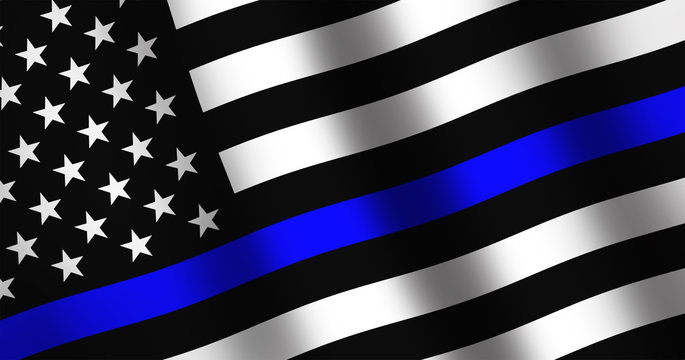 Waving flag of United States of America with police support symbol, Thin blue line.