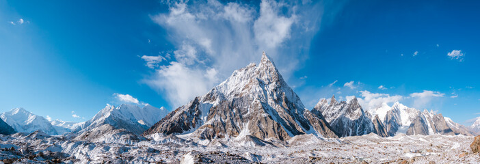 Panoramic view of Mitre Peak and Baltoro Galcier and Karakoram Mountains from Concordia, Pakistan
