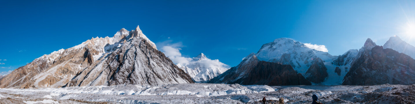Panoramic view of K2, the second highest mountain in the world with surrounding mountains such as Crystal, Marble, Angel, Nera and Broad from Baltoro Glacier,  Concordia, Pakistan