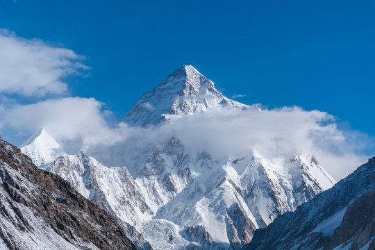 Close up view of K2, the second highest mountain in the world with Angel peak and Nera peak on the left side from Concordia, Pakistan