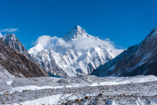 View of K2, the second highest mountain in the world with Upper Baltoro Glacier from Concordia, Pakistan