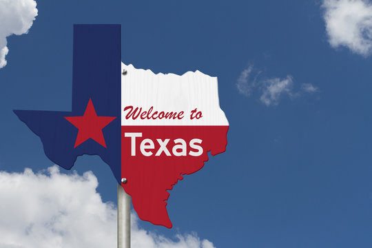 Welcome to the state of Texas road sign in the shape of the state map with the flag
