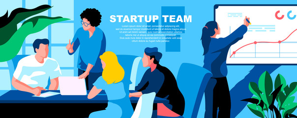 Startup team flat vector landing page template. Business development, project management banner layout with header. Company improvement strategy planning cartoon illustration with text space