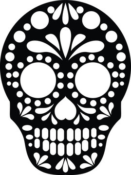Sugar Skull Black and White Vector Silhouette