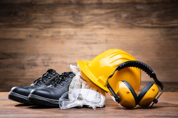 Yellow Hard Hat With Safety Equipment