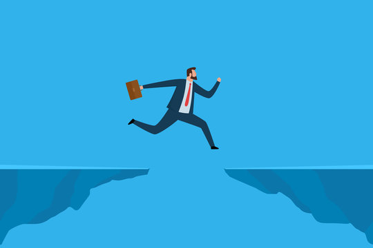 Businessman jumping over gap. Business risk and success concept. Vector illustration.
