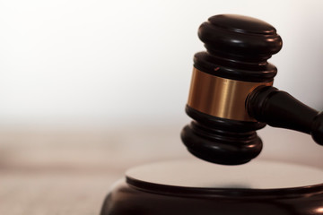 Judge's gavel hitting block with copy space