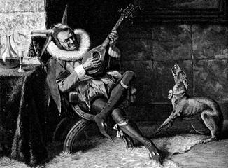 Jester in costume, cap and ruff entertaining himself and his dog  playing mandolin sitting at a table with a glass of wine beside