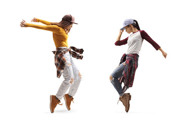 Self adhesive Wall Murals Dance School Two young females dancing street dance style