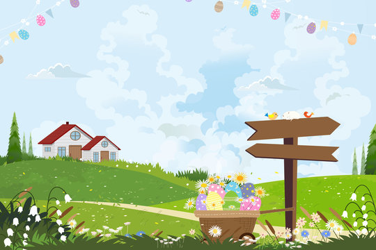 Cute cartoon Happy Easter holiday greeting card, Easter eggs in basket and cute eggs flag hanging on a clothesline, Landscape Springtime with house on hills,wooden sign, blue sky and clouds.
