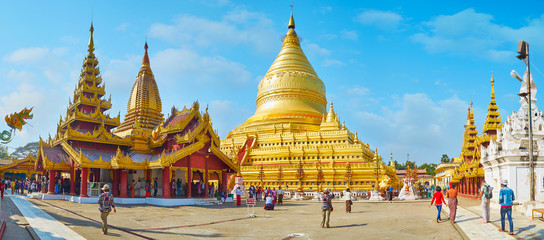 Panorama of Shwezigon Pagoda, Bagan, Myanmar