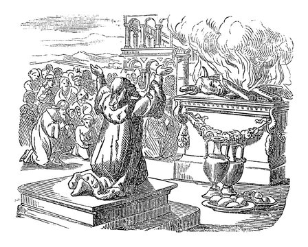Vintage line drawing or engraving of biblical story of king Solomon praying and sacrificing to God after finished the temple. Bible, Old Testament, 2 Chronicles 7. Biblische Geschichte , Germany 1859.