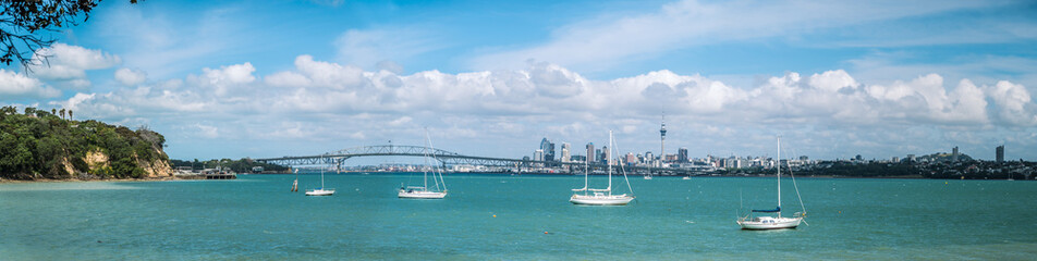 Panorama Looking Over the Waitemata Harbour to Auckland City and the Harbour Bridge on a Bright Summers Day