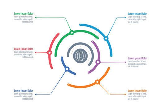 round infographic template. six options information wheel. business infographic template