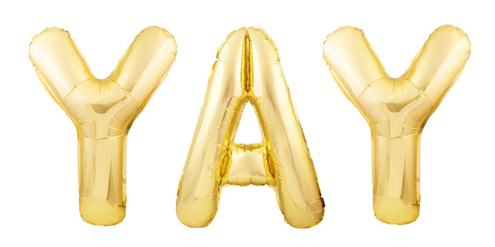 Word YAY made of rose gold inflatable balloon letters isolated on white background. Helium balloons forming word YAY