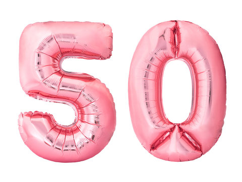 Number 50 fifty made of rose gold inflatable balloons isolated on white background. Pink helium balloons forming 50 fifty number. Discount and sale or birthday concept