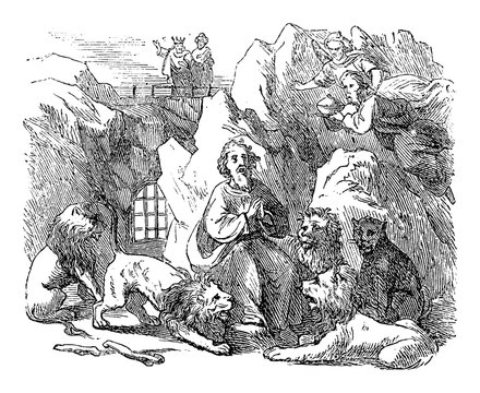 Vintage drawing or engraving of biblical story of prophet Daniel Send in lion's den by king Darius of Babylon. Old Man surrounded by lions. Bible, Old Testament,Daniel 6. Biblische Geschichte