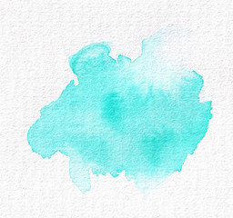 Isolated abstract watercolor spot for wedding design and Valentine's day. Tiffany, turquoise, blue.