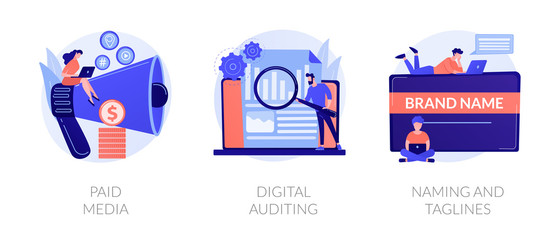 Company services icons set. Marketing platform, online documentation inspection, corporate identity development. Paid media, digital auditing metaphors. Vector isolated concept metaphor illustrations