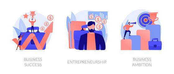Success achievement icons set. Company leadership, profit growth, revenue increase. Business success, entrepreneurship, business ambition metaphors. Vector isolated concept metaphor illustrations Fotobehang