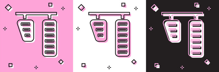 Set Car gas and brake pedals icon isolated on pink and white, black background.  Vector Illustration