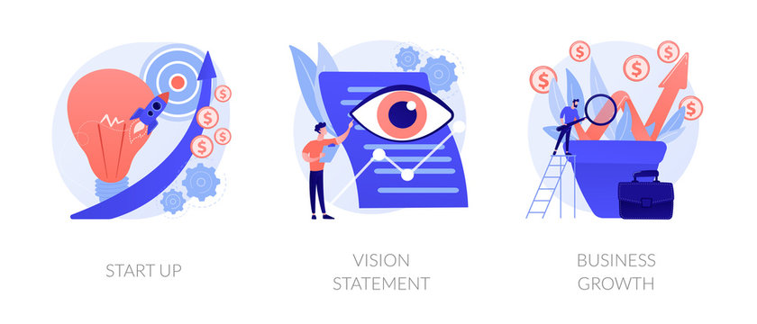Successful project launch, corporate strategy presentation, financial development icons set. Startup, vision statement, business growth metaphors. Vector isolated concept metaphor illustrations