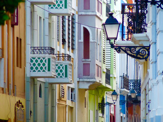Bright Colorful Old San Juan Street Architecture in Puerto Rico USA - SJU