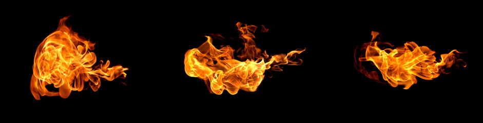 Deurstickers Vuur Fire flames on a black background