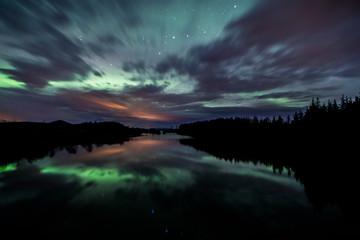 Wall Mural - Aurora Borealis (Northern Lights) above lake