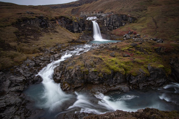Tuinposter Bos rivier the stunning view along the waterfall circle hike in Laugarfell iceland