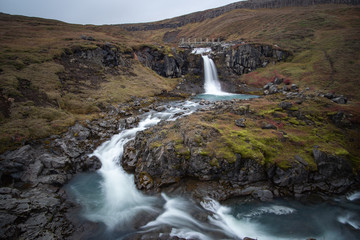 Keuken foto achterwand Bos rivier the stunning view along the waterfall circle hike in Laugarfell iceland