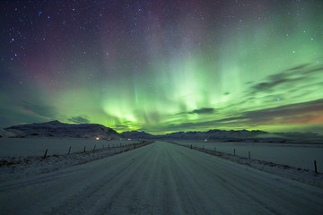 Wall Mural - Northern Lights (Aurora Borealis) above a road