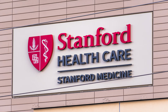 Jan 9, 2020 Palo Alto / CA / USA - Stanford Health Care sign; Stanford Health Care comprises of a network of medical facilities and doctors located around the San Francisco Bay area