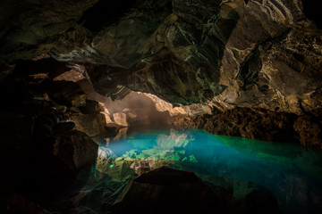 Grjotagja Underground cave with river