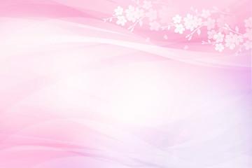 Wall Mural - 桜のシルエットとピンクのウェーブの背景